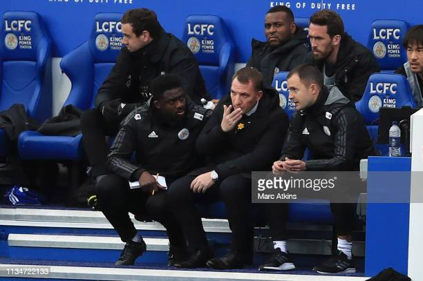 Brendan Rodgers, Manager of Leicester City looks on during the Premier League match between Leicester City and Fulham FC at The King Power Stadium on...