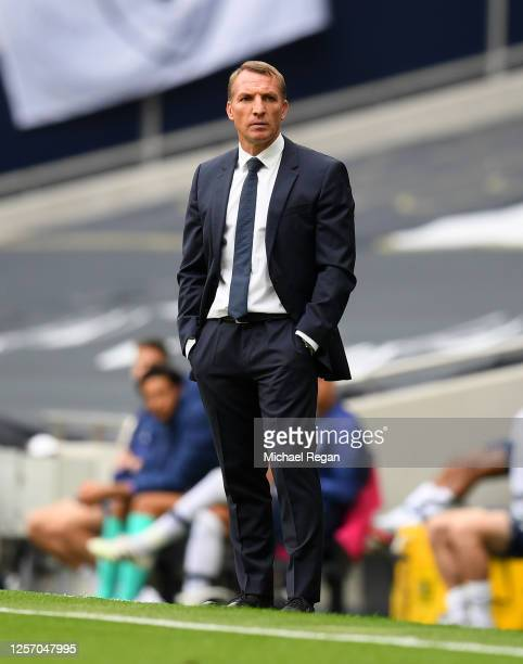Brendan Rodgers, Manager of Leicester City looks on during the Premier League match between Tottenham Hotspur and Leicester City at Tottenham Hotspur...
