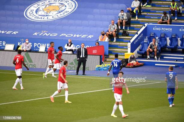 Brendan Rodgers Manager of Leicester City looks on from the sidelines during the Premier League match between Leicester City and Manchester United at...