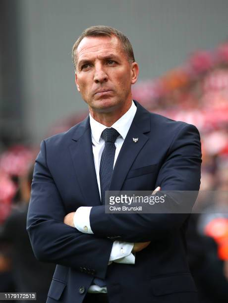 Brendan Rodgers Manager of Leicester City looks on prior to the Premier League match between Liverpool FC and Leicester City at Anfield on October 05...