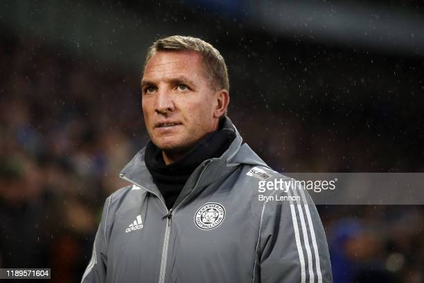 Brendan Rodgers Manager of Leicester City looks on prior to the Premier League match between Brighton Hove Albion and Leicester City at American...