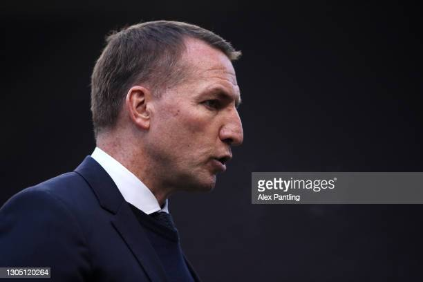 Brendan Rodgers, Manager of Leicester City looks on prior to the Premier League match between Burnley and Leicester City at Turf Moor on March 03,...