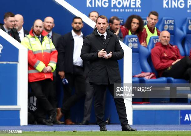 Brendan Rodgers Manager of Leicester City makes notes during the Premier League match between Leicester City and Arsenal FC at The King Power Stadium...