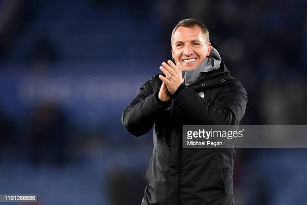 Brendan Rodgers Manager of Leicester City reacts after the Premier League match between Leicester City and Everton FC at The King Power Stadium on...