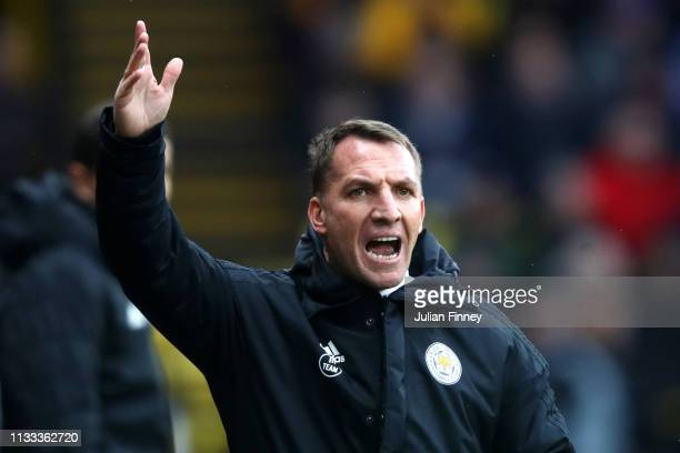 Brendan Rodgers Manager of Leicester City reacts during the Premier League match between Watford FC and Leicester City at Vicarage Road on March 03...