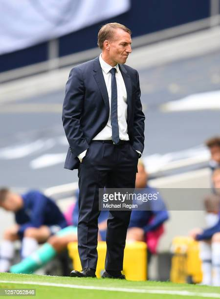 Brendan Rodgers Manager of Leicester City reacts during the Premier League match between Tottenham Hotspur and Leicester City at Tottenham Hotspur...