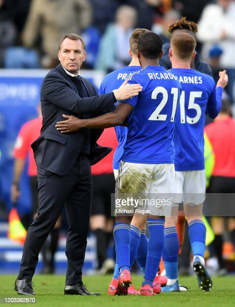 Brendan Rodgers, Manager of Leicester City speaks to Ricardo Pereira of Leicester City after the Premier League match between Leicester City and...