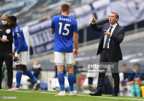 Brendan Rodgers Manager of Leicester City speaks with Harvey Barnes of Leicester City during the Premier League match between Tottenham Hotspur and...