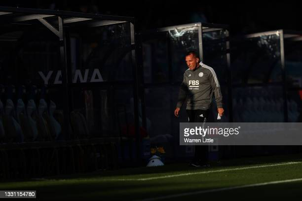 Brendan Rodgers, Manager of Leicester City walks along the side lines ahead of the pre-season friendly between Wycombe Wanderers and Leicester City...