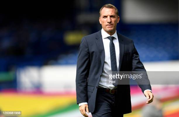 Brendan Rodgers, Manager of Leicester City walks on the pitch prior to the Premier League match between Everton FC and Leicester City at Goodison...