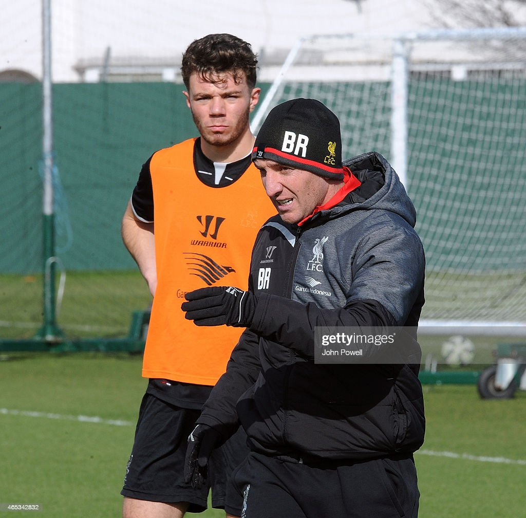 Brendan Rodgers manager of Liveprool during a training session at Melwood Training Ground on March 6, 2015 in Liverpool, England.