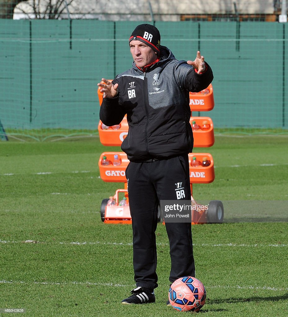 Brendan Rodgers manager of Liveprool in action during a training session at Melwood Training Ground on March 6, 2015 in Liverpool, England.