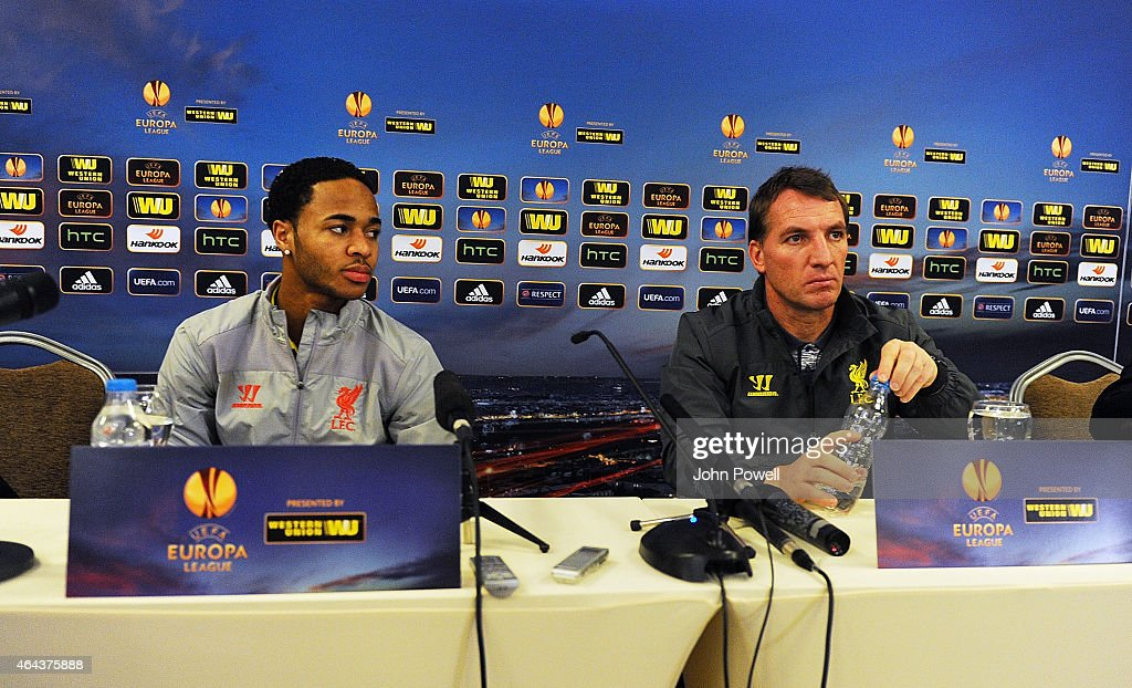 Brendan Rodgers manager of Liverpool and Raheem Sterling during a Press Conference at ISG Airport Hotel on February 25, 2015 in Istanbul, .
