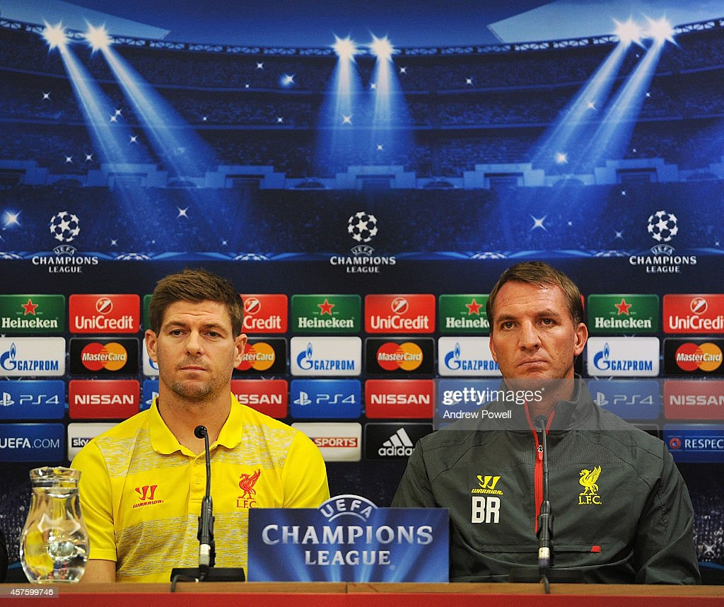 Brendan Rodgers manager of Liverpool and Steven Gerrard of Liverpool during Press Conference at Anfield on October 21, 2014 in Liverpool, United Kingdom.