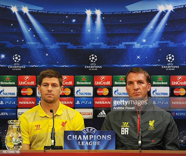 Brendan Rodgers manager of Liverpool and Steven Gerrard of Liverpool during Press Conference at Anfield on October 21 2014 in Liverpool United Kingdom