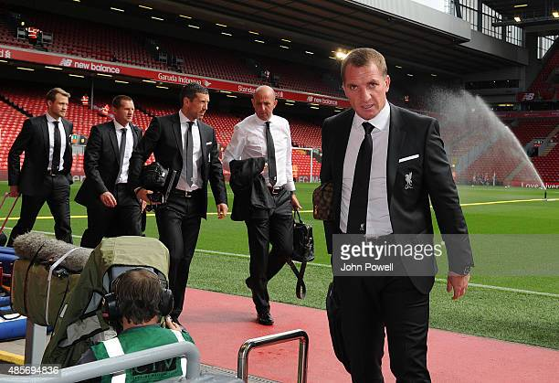 Brendan Rodgers manager of Liverpool arrives before the Barclays Premier League match between Liverpool and West Ham United on August 29 2015 in...