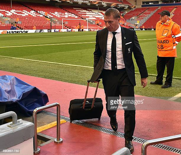 Brendan Rodgers manager of Liverpool arrives before the UEFA Europa League match between Liverpool and FC Sion on October 1 2015 in Liverpool United...