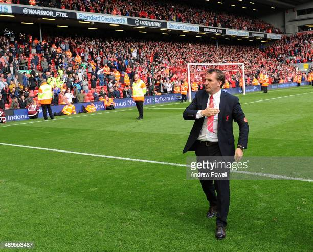 Brendan Rodgers manager of Liverpool at the end of the Barclays Premier League match between Liverpool and Newcastle United at Anfield on May 11 2014...