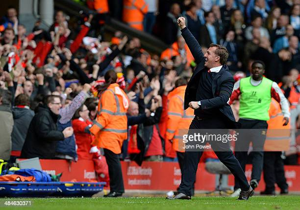 Brendan Rodgers manager of Liverpool celebrates after Philippe Coutinho of Liverpool scored the winning goal during the Barclays Premier Leuage match...