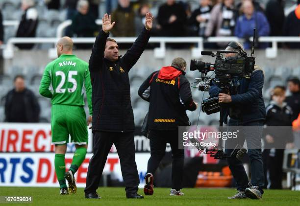 Brendan Rodgers manager of Liverpool celebrates his team's 60 victory after the Barclays Premier League match between Newcastle United and Liverpool...