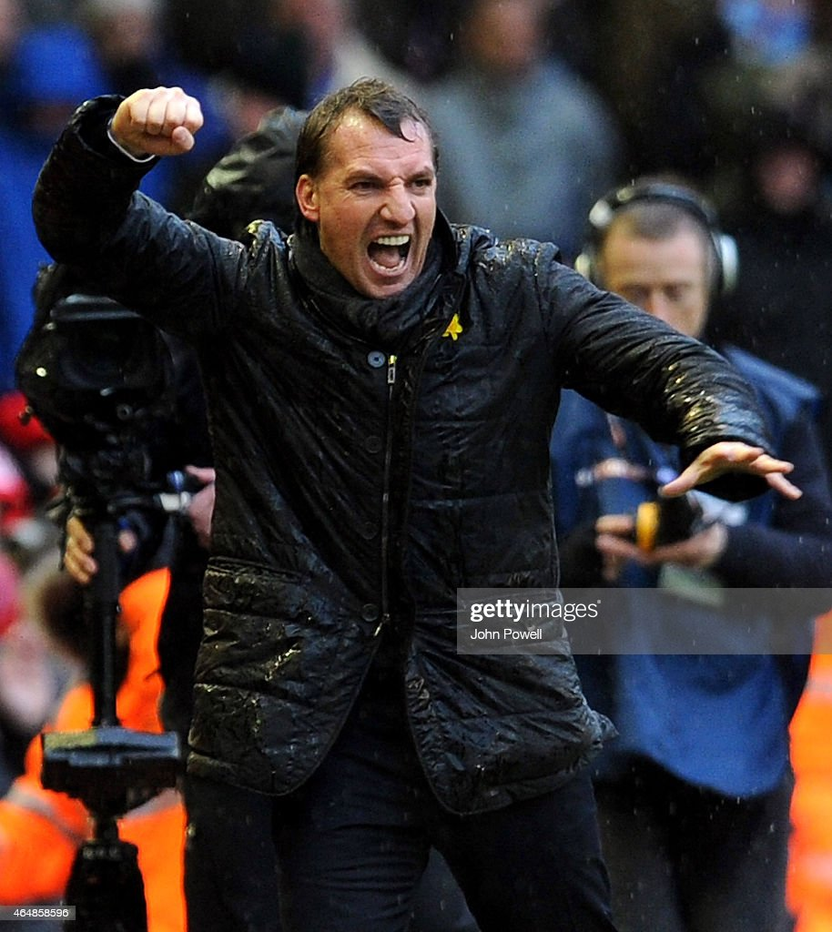 Brendan Rodgers manager of Liverpool celebrates the win at the end of the Barclays Premier League match between Liverpool and Manchester City at Anfield on March 1, 2015 in Liverpool, England.