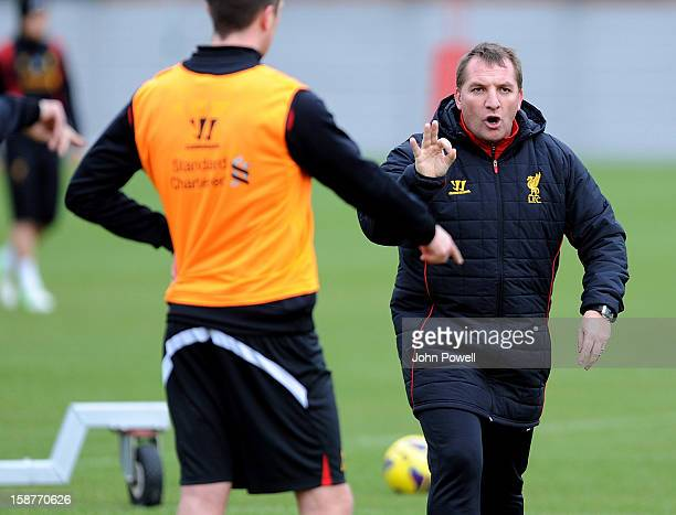 Brendan Rodgers manager of Liverpool conducts a training session at Melwood Training Ground on December 28 2012 in Liverpool England