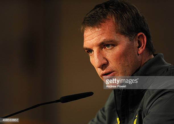 Brendan Rodgers manager of Liverpool during a press conference ahead of the UEFA Champions League match against Real Madrid at Estadio Santiago...