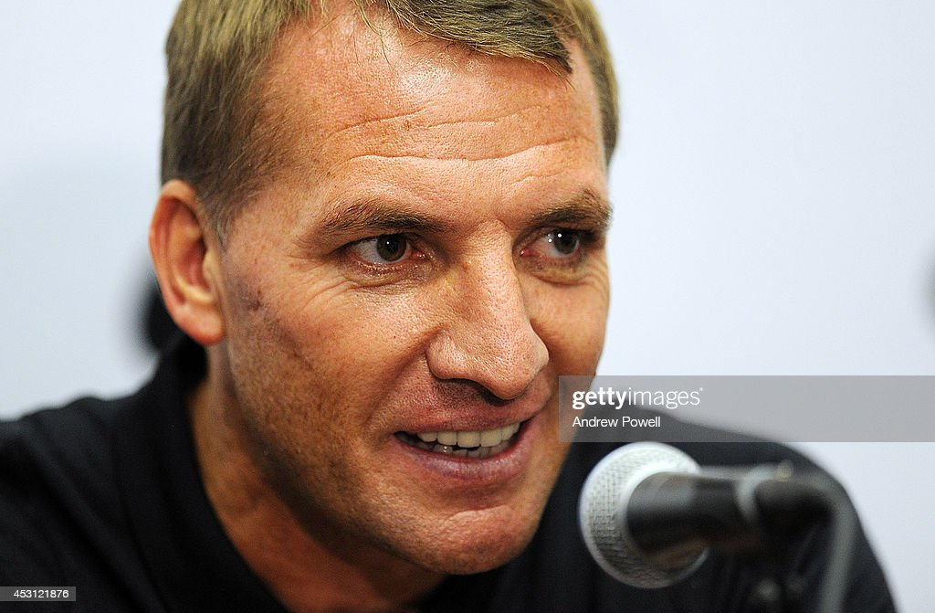 Brendan Rodgers manager of Liverpool during a press conference at Sunlife Stadium on August 3, 2014 in Miami, Florida.