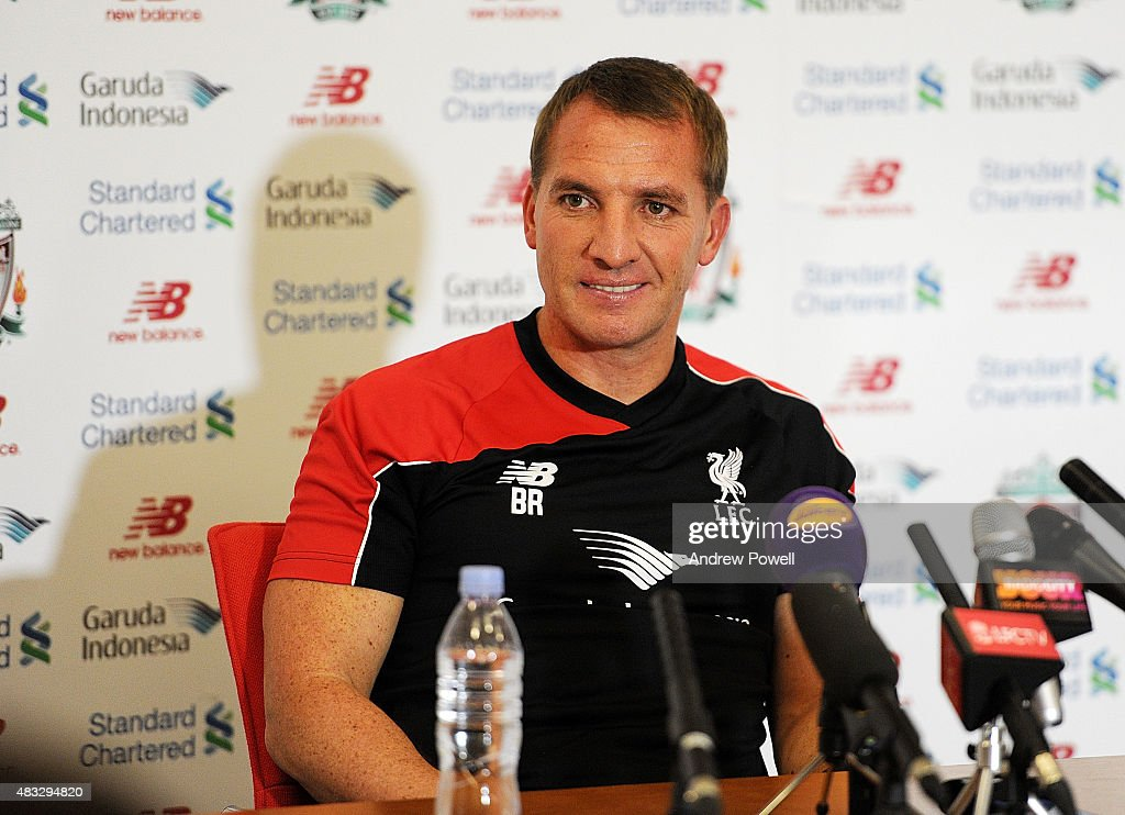 Brendan Rodgers manager of Liverpool during a Press Conference at Melwood Training Ground on August 7, 2015 in Liverpool, England.