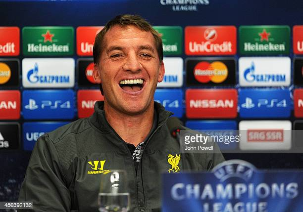 Brendan Rodgers manager of Liverpool during a Press conference at St Jakob Stadium on September 30 2014 in Basel Switzerland