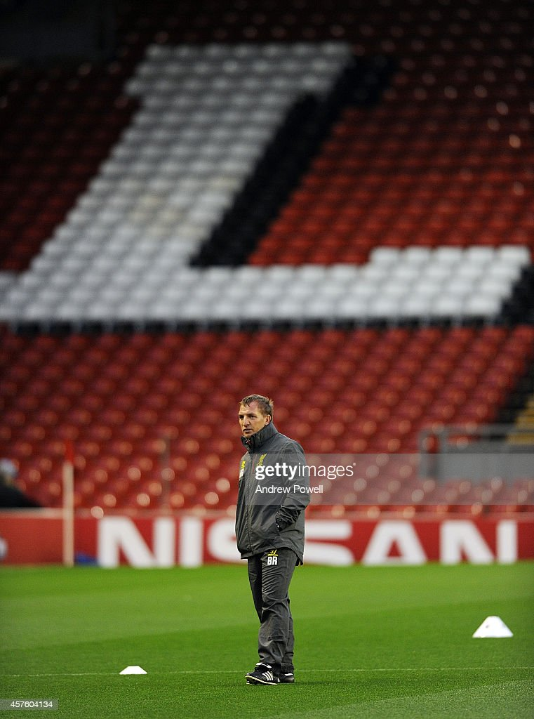 Brendan Rodgers manager of Liverpool during a training session at Anfield on October 21, 2014 in Liverpool, United Kingdom.