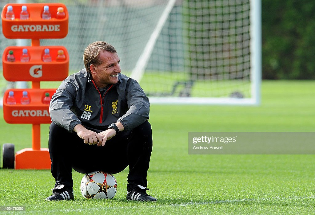 Brendan Rodgers manager of Liverpool during a training session at Melwood Training ground on September 15, 2014 in Liverpool, England.