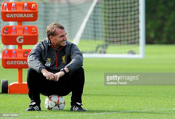 Brendan Rodgers manager of Liverpool during a training session at Melwood Training ground on September 15 2014 in Liverpool England