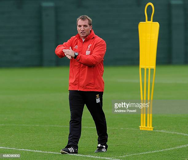Brendan Rodgers manager of Liverpool during a training session at Melwood Training Ground on October 30 2014 in Liverpool England