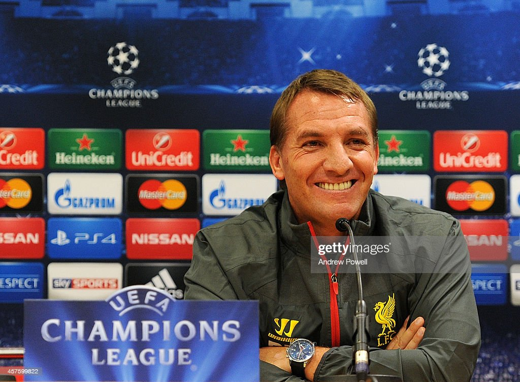 Brendan Rodgers manager of Liverpool during Press Conference at Anfield on October 21, 2014 in Liverpool, United Kingdom.