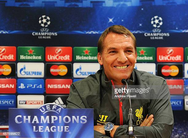 Brendan Rodgers manager of Liverpool during Press Conference at Anfield on October 21 2014 in Liverpool United Kingdom