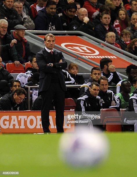 Brendan Rodgers manager of Liverpool during the Capital One Cup Fourth Round match between Liverpool and Swansea City at Anfield on October 28 2014...