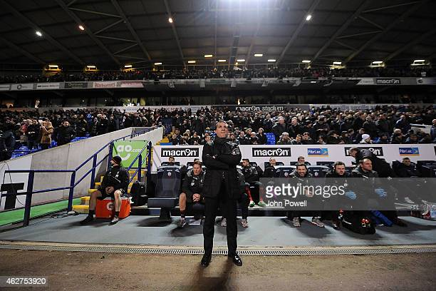 Brendan Rodgers manager of Liverpool during the FA Cup Fourth Round Replay match between Bolton Wanderers and Liverpool at Macron Stadium on February...
