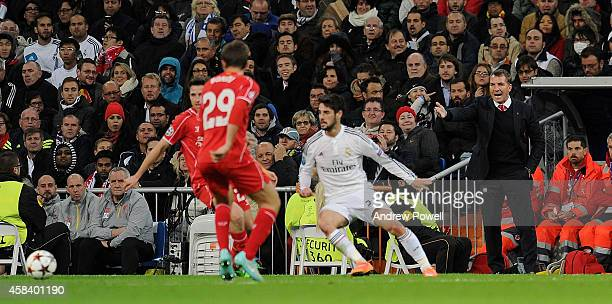Brendan Rodgers manager of Liverpool during the UEFA Champions League match between Real Madrid CF and Liverpool FC on November 4 2014 in Madrid Spain