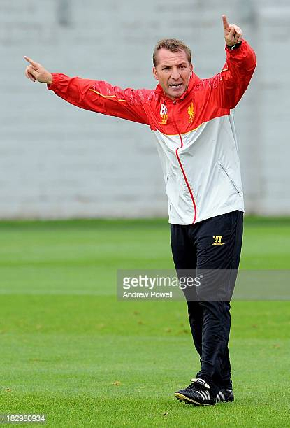 Brendan Rodgers manager of Liverpool FC takes part in a training session at Melwood Training Ground on October 3 2013 in Liverpool United Kingdom