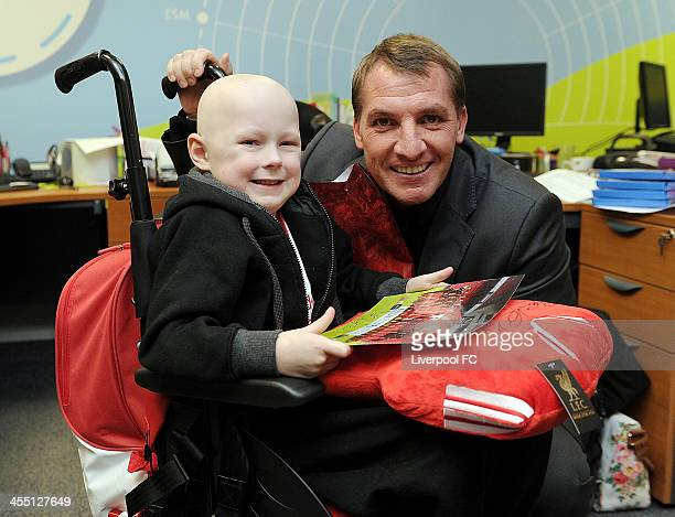 Brendan Rodgers manager of Liverpool FC visits patients at Alder Hey Children's Hospital on December 11 2013 in Liverpool England