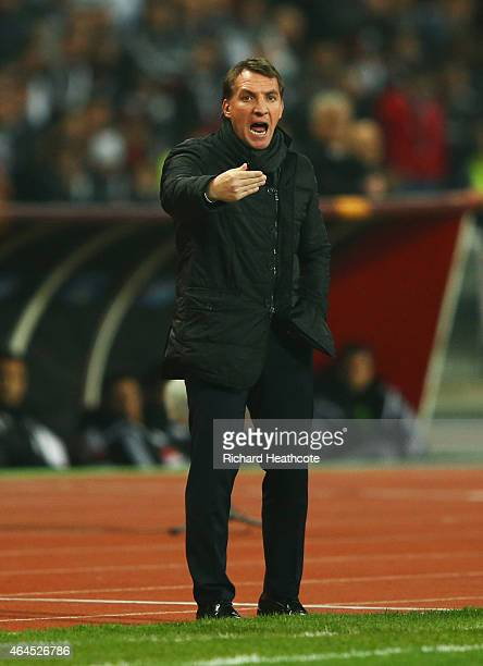 Brendan Rodgers manager of Liverpool gives instructions during the UEFA Europa League Round of 32 second leg match between Besiktas JK and Liverpool...