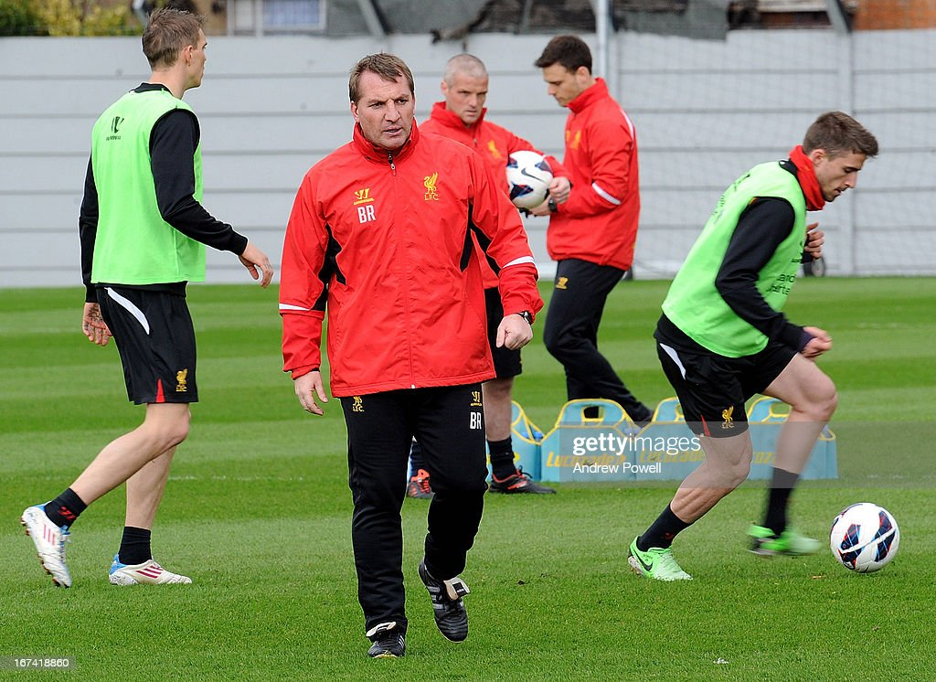 Brendan Rodgers manager of Liverpool in aciton during a training session at Melwood Training Ground on April 25, 2013 in Liverpool, England.
