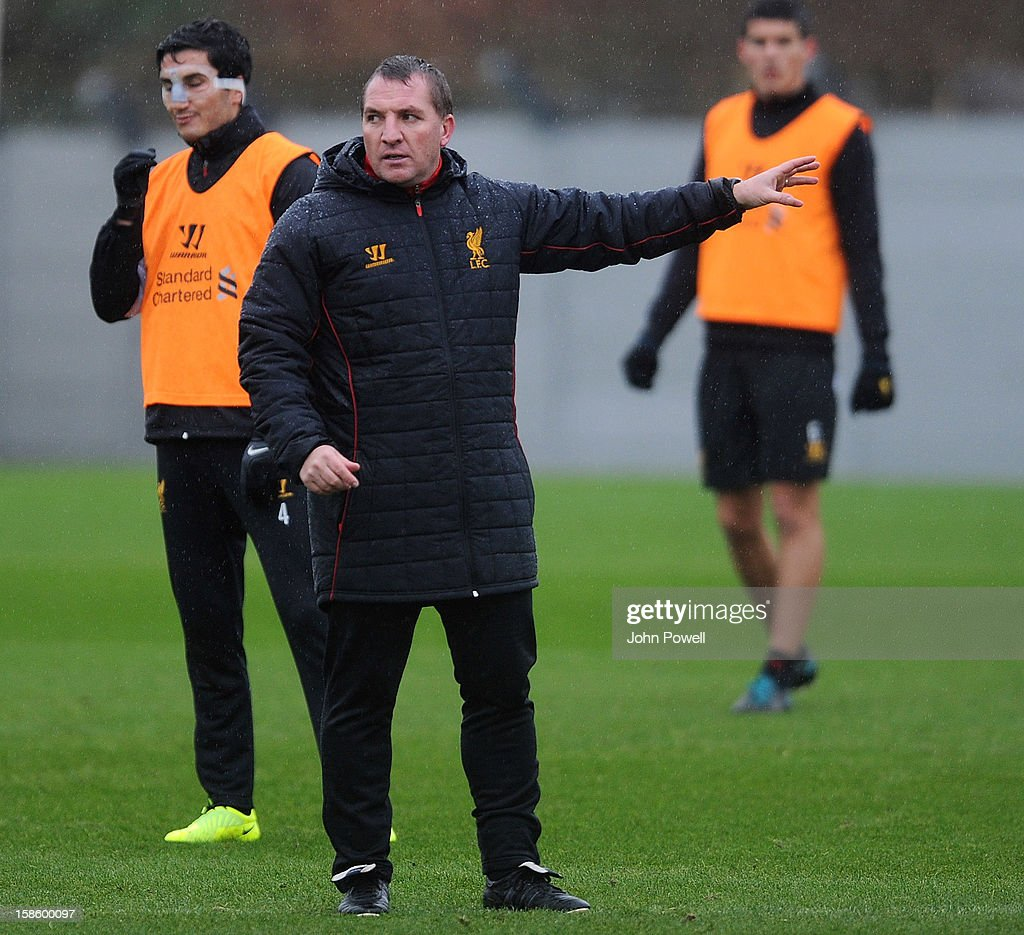 Brendan Rodgers manager of Liverpool in action during a training session at Melwood Training Ground on December 20, 2012 in Liverpool, England.
