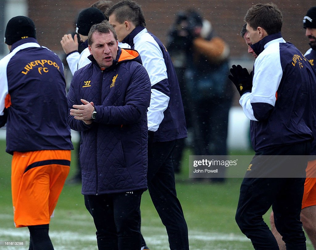 Brendan Rodgers manager of Liverpool in action during a training session at Melwood Training Ground on February 13, 2013 in Liverpool, England.