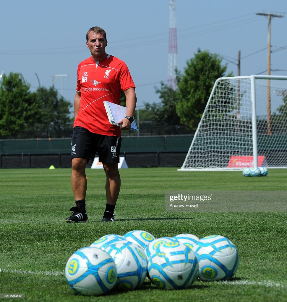 Brendan Rodgers manager of Liverpool in action during a training session at Harvard University on July 22, 2014 in Cambridge, Massachusetts.