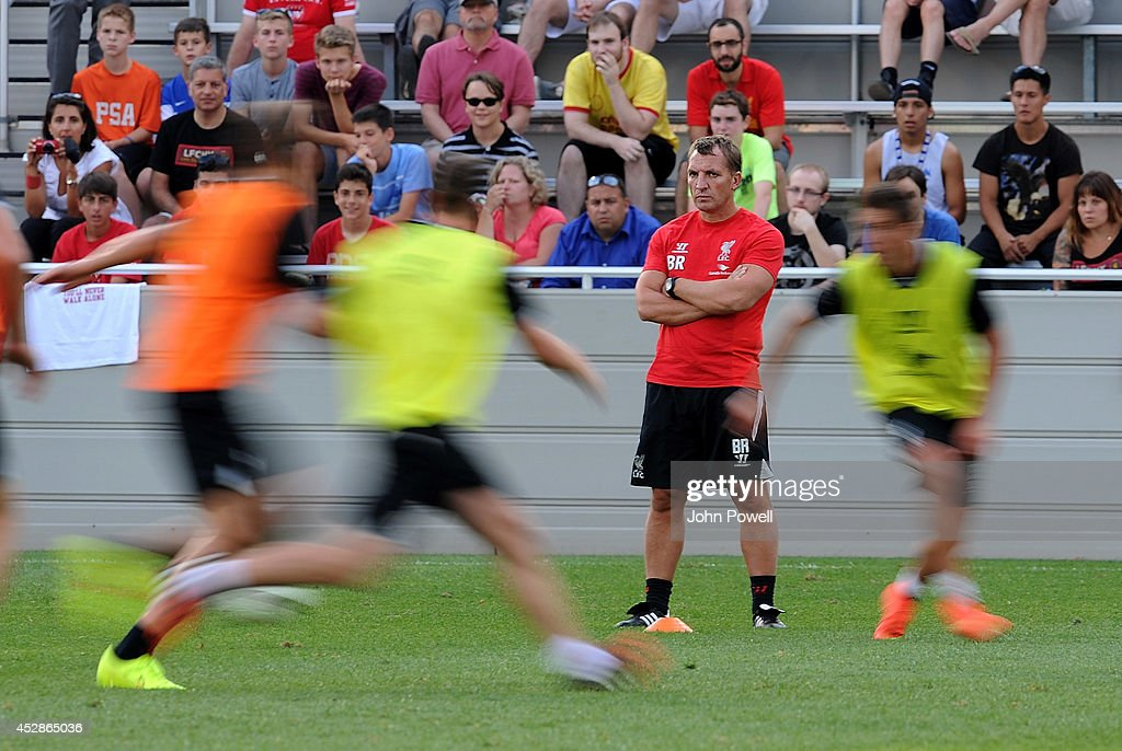 Brendan Rodgers manager of Liverpool in action during a training session at Princeton University on July 28, 2014 in Princeton, New Jersey.