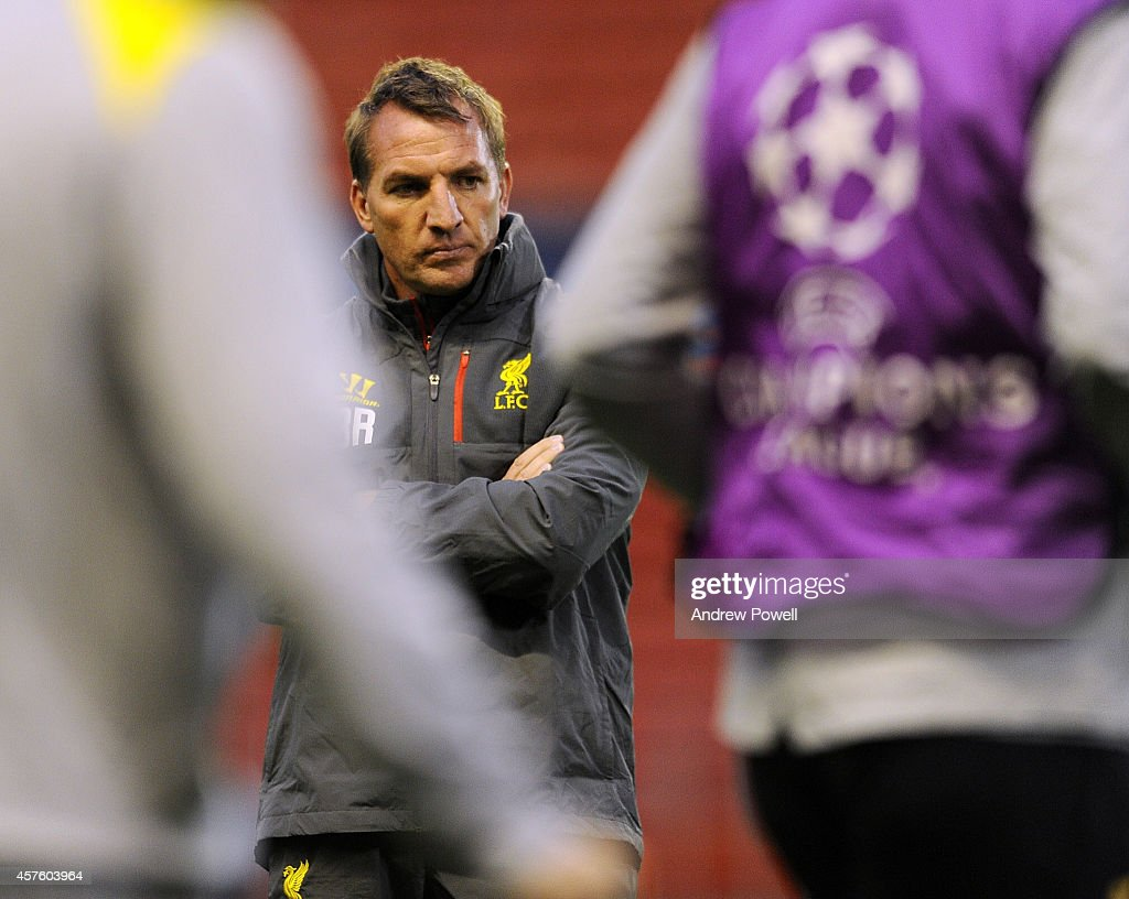 Brendan Rodgers manager of Liverpool in action during a training session at Anfield on October 21, 2014 in Liverpool, United Kingdom.