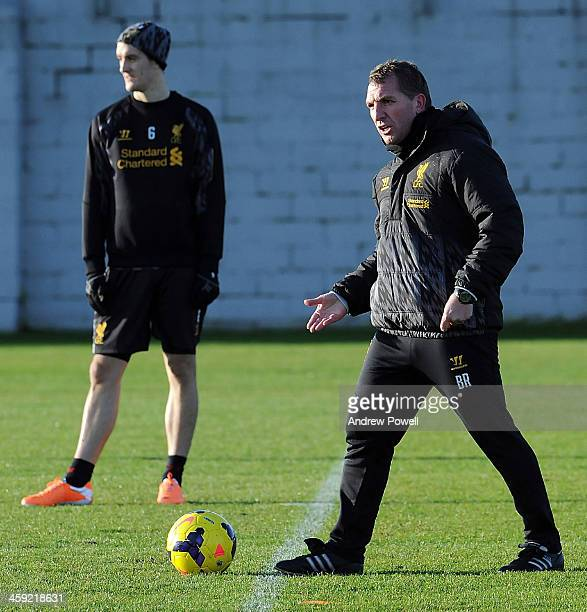 Brendan Rodgers manager of Liverpool in action during a training session at Melwood Training Ground on December 24 2013 in Liverpool England