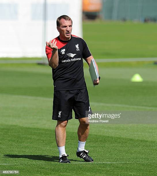 Brendan Rodgers manager of Liverpool in action during a training session at Melwood Training Ground on August 7, 2015 in Liverpool, England.